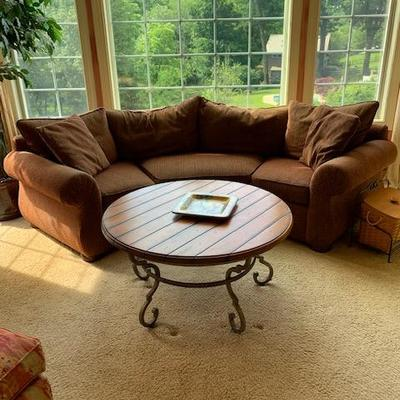 DemiLune Upholstered Brown Sofa $450