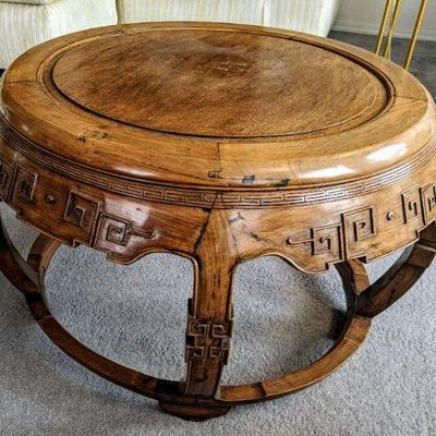 WW - view 2 of 2 Asian carved round coffee/accent table. Approx 32