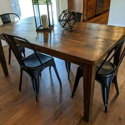 Farm-style style w/4 metal industrial-style chairs (view 1 of 2) 36