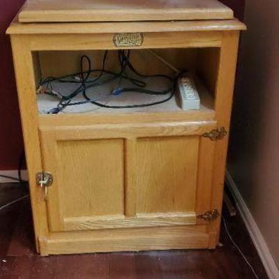 Oak media cabinet, reproduction ice chest.
