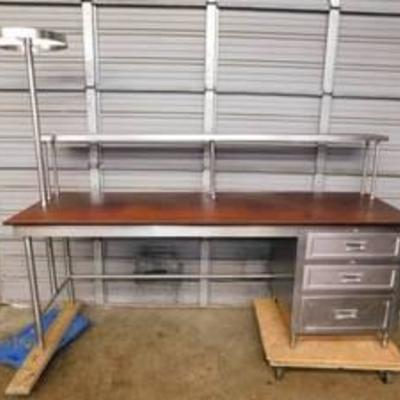 8' Stainless Table With Overshelf & Cutting Board