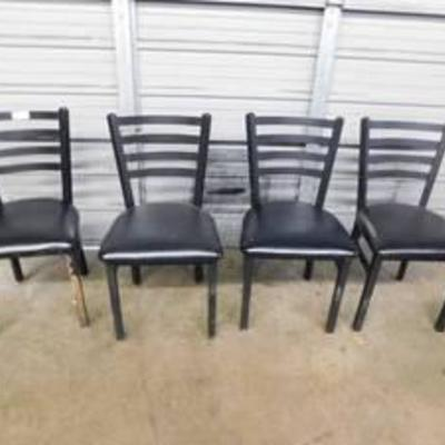 4 Dining Height Metal Frame Chairs With Vinyl Seats