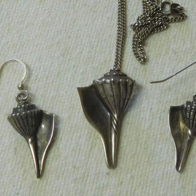 Sterling Shell Necklace and Earrings
