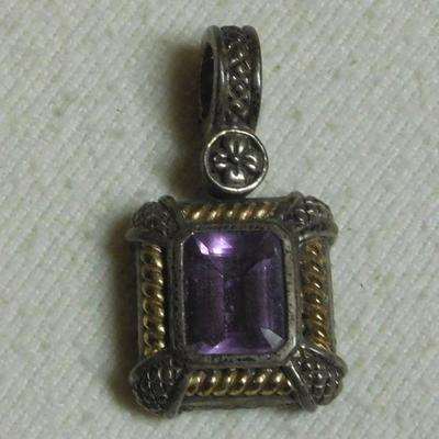 18 k and Sterling Amethyst Pendant