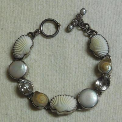 Sterling Pearl and Shell Bracelet