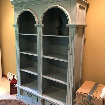 Light blue distressed bookcase 78.5x53.5x16     $600
