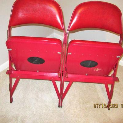 Pair of Original Chicago Stadium Padded Chairs numbered 1 AND 2.  $500.00