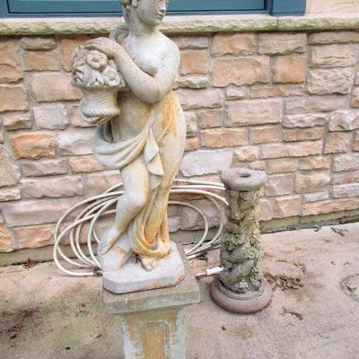 STATUES WITH BASES ARE ABOUT 4 1/2 FEET TALL. ASKING $500.00 FOR STATUE WITH BASE.  FIRM NO DISCOUNT
