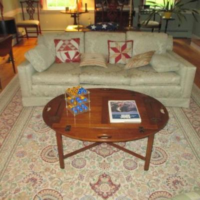 Butlers Table Hinged Mahogany Butler's Tray Table, Sofa & Rug