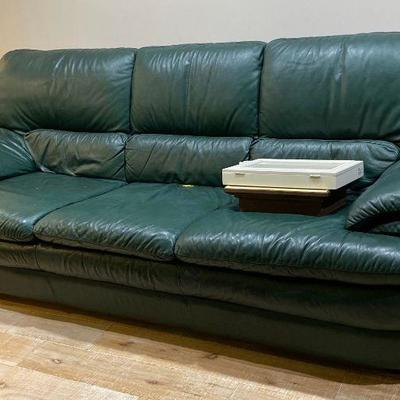 Green leather - 2 chairs and ottomans and 2 matching sofas