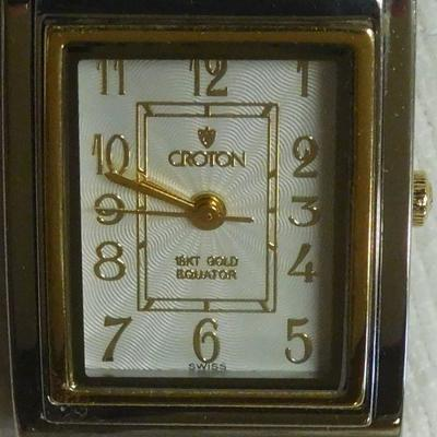 Croton Equator Watch with 18 k Bezel, Crown and Links