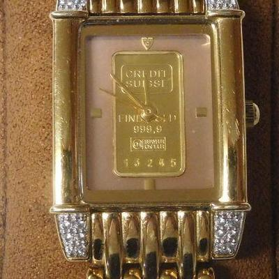 Croton 23 k Gold Plate with Credit Suisse Fine Gold 999.9 - Runs Great