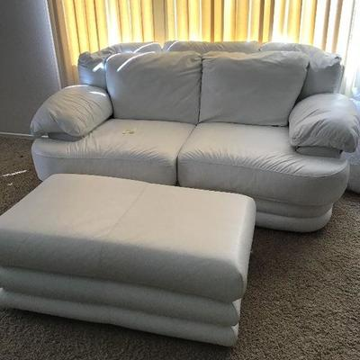 White leather sofa and ottoman $245