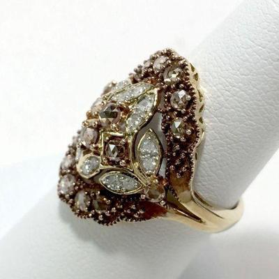 #4: Diamonds and Diamonds! Genuine Gold with Round White and Rose Cut Cognac Diamond Ring. Diamonds and Diamonds! Genuine Round White and...