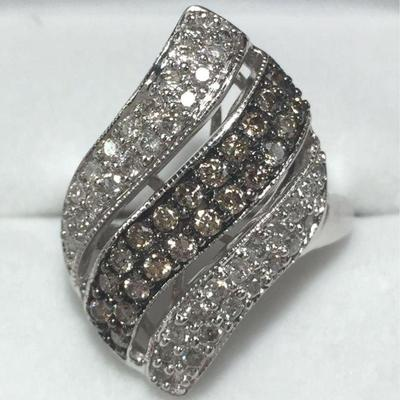 #12: Estate Ring made of Genuine White Gold & White Diamonds with Champagne Diamonds set on a contrasting