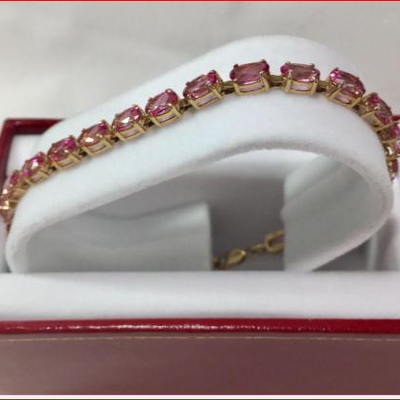 #3: Genuine Gold Estate Bracelet with Pink Gemstones. Genuine Gold Estate Bracelet with Pink Gemstones. Each One of the Gemstones are...