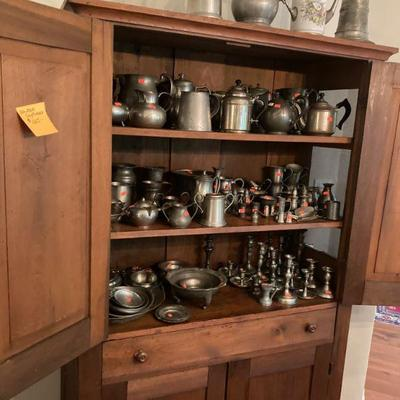 Wisc. country cupboard and pewter cpllection.