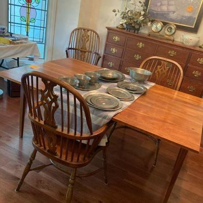 Cherry drop leaf dining table and 6 windsor armchairs
