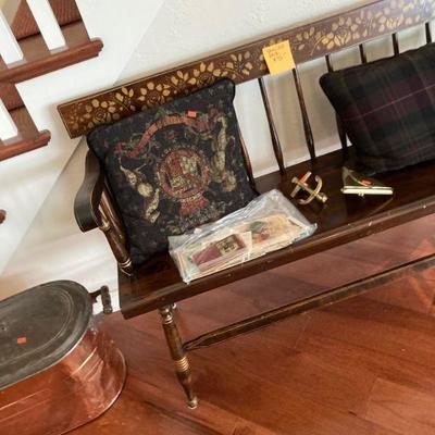 Stencilled bench, copper boiler