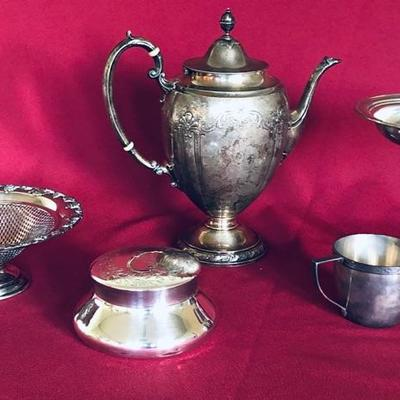 Sterling silver tea pot (Shreve & Co.) and more