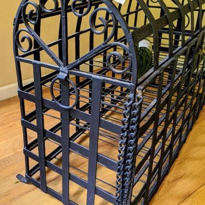 KIB Cast Iron wine cabinet handcrafted with open iron square framework. Freestanding or table topdesign offers room to display at least...