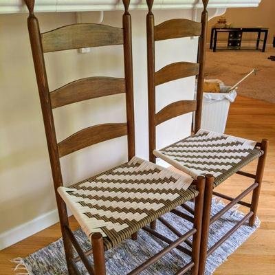 KIB 15-3 Vintage wooden ladder back chairs with woven seat   19