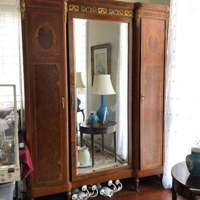 PR0105 https://www.ebay.com/itm/124267516790 PR0105: French Revival Style Carved Brass Ornamental Armoire, 19th c., the rounded corner...