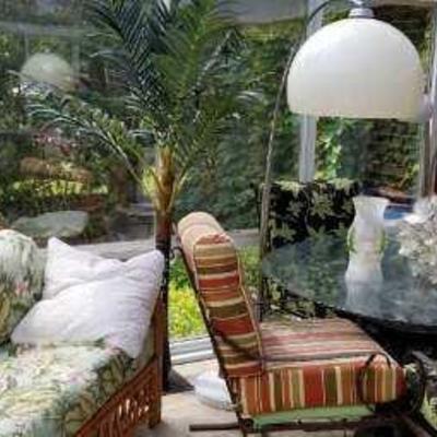 Bamboo sofa, floor lamp, patio table & chairs