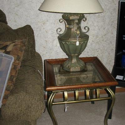 GLASS TOP END TABLES  (2)   BUY IT NOW $ 65.00 EACH Large lamps   BUY IT NOW  $ 45.00 EACH