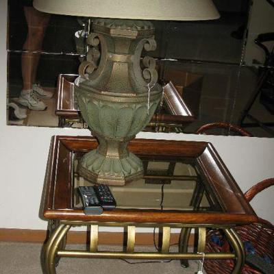 GLASS TOP END TABLES  (2)   BUY IT NOW $ 65.00 EACH