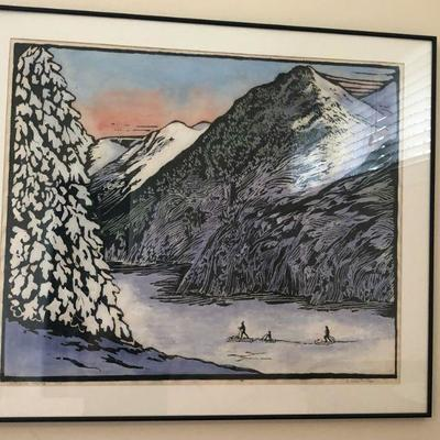 Olive Nordby woodcut .
