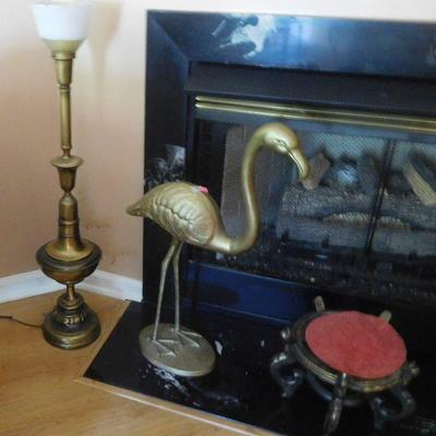 Brass Lamp and Flamingo