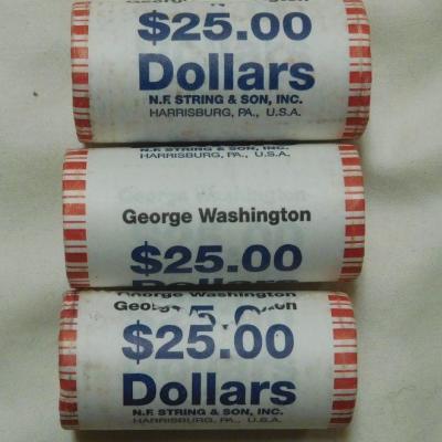 3 Rolls Washington Dollars