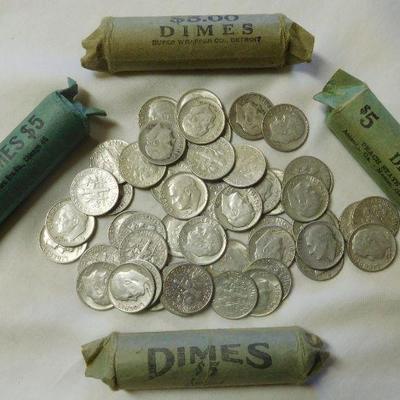 5 Rolls Roosevelt Silver Dimes