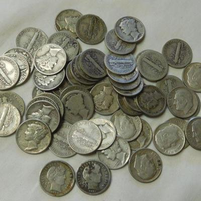 59 Barber - Mercury and Roosevelt Silver Dimes