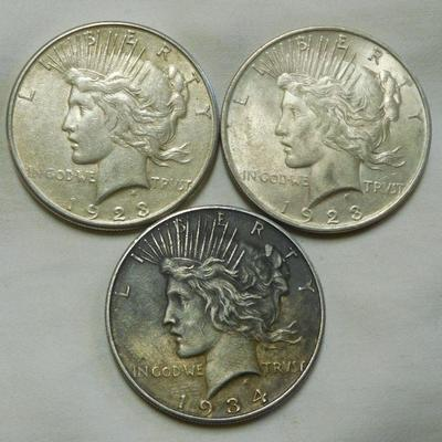 1923 and 1934 Peace Dollars