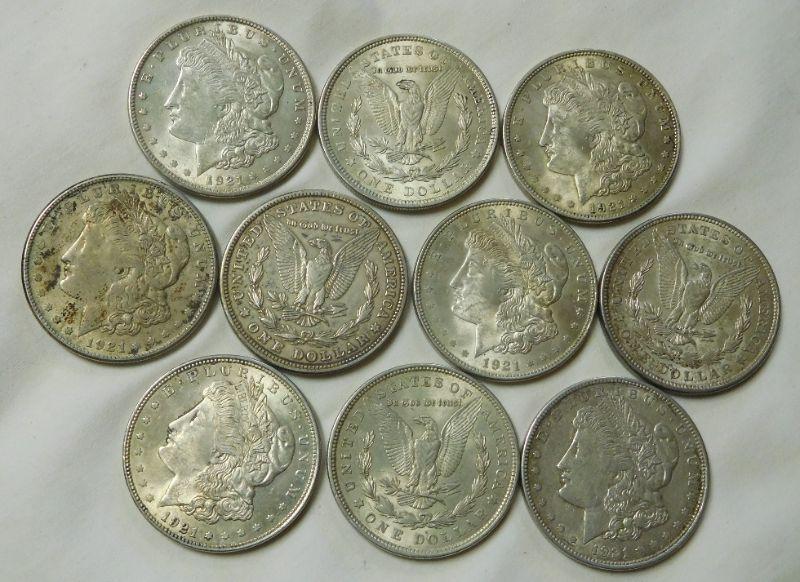 10 1921 Morgan Dollars