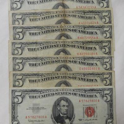 1953 and 1963 $5 Red Notes
