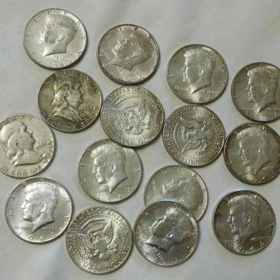 2 Franklin and 13 1964 Kennedy Halves