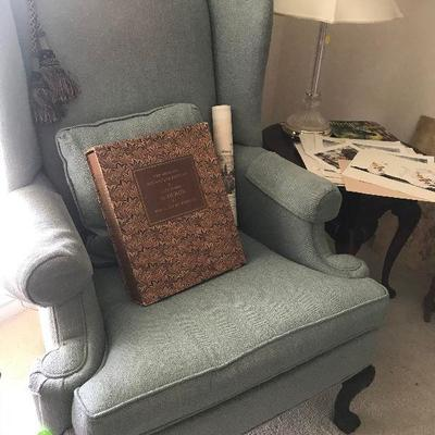 Pair of Blue Wingback chairs