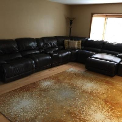 Black Leather Sectional Sofa with Two End Electric Recliners