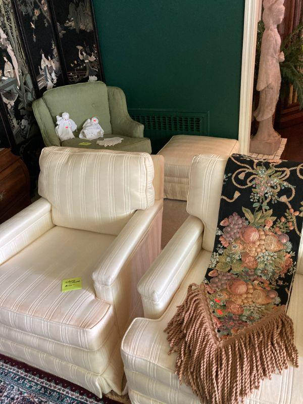 Pr. of upholstered chairs with  an ottoman. Better than average table runner.