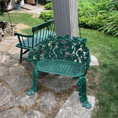 Antique signed Grand Rapids cat iron bench