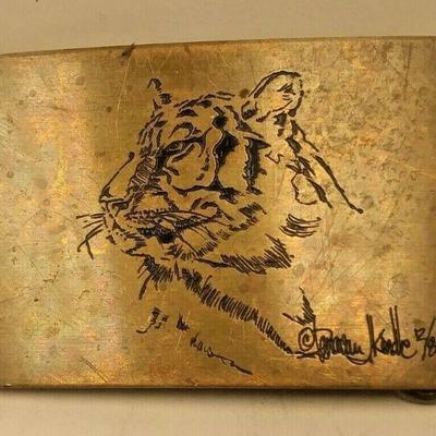 https://www.ebay.com/itm/124276859799PR3018 VINTAGE AMPERSAND BRASS TIGER BELT BUCKLE BY ARTIST DONIVAN KINDLEAuction