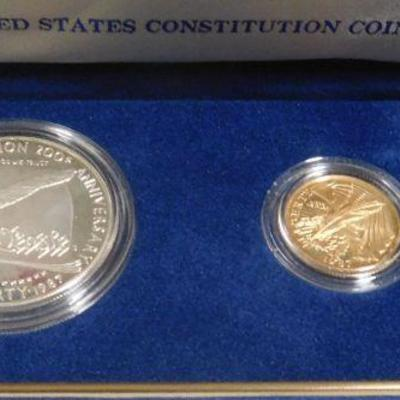 United States Constitution Coins - Silver Dollar and Five Dollar Gold Coin
