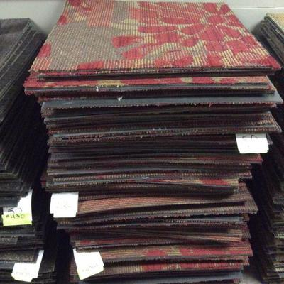 APB432 Hotel Grade Red Floral Carpet Tiles