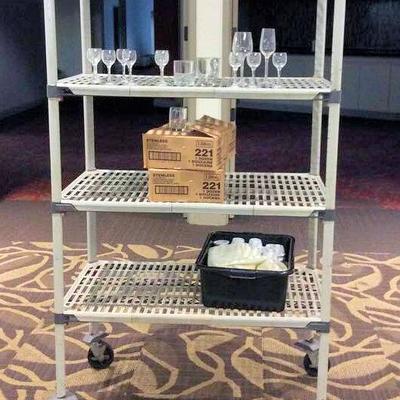 APB400 Four Tier Shelf & Glassware