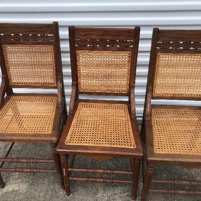 https://www.ebay.com/itm/114350178123LAN9709: 3 Hand Caned Vintage Wood Chairs Local PickupBIN100