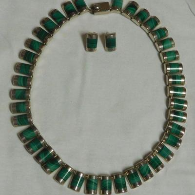 Sterling Malachite Necklace and Earrings