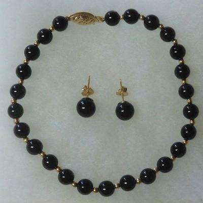 14 k Onyx Bracelet and Earrings